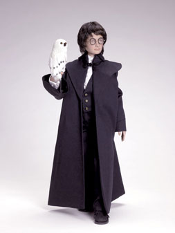 """""""Harry Potter at the Yule Ball"""" depicts Harry in his formal ensemble for an important Hogwarts gala. Limited to 2,500, the doll sells for $150. (Hedwig the Owl is not included.)"""
