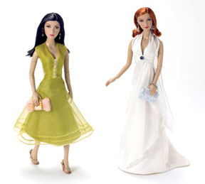 """Designs for Living: The Alexander costumers have given the """"Susan Mayer""""doll a lovely chartreuse dress that falls just below the knees, along with coordinating shoes, handbag and earrings. It resembles an actual ensemble the character wore during an episode. Standing beside the Susan doll is the """"Bree Van De Kamp"""" doll. The Alexander artists have captured actress Marcia Cross' glamour and always-poised façade. The Bree doll wears a flowing white goddess-style gown. Her shoes are silver and her clutch bag is brocaded."""