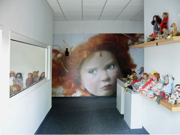 The entryway to the Zwergnase showroom and office building flaunts a large photo of a surly looking sweetie,
