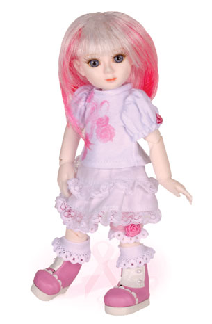 """""""The 'Adeline Joy' doll and the """"Nurse Eloise"""" doll are both charity dolls,"""" Goodreau explains. """"They sell directly through us, and 100 percent of the profits go to medical research. The breast cancer awareness doll is named Adeline Joy after a lovely pattern maker who just survived breast cancer. That was my inspiration."""""""