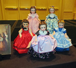 A set of Lissy Little Women from the late 1950s was part of a display by South Shore Dolls of Massachusetts.