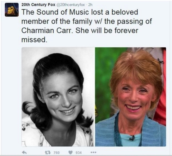 """So Long, Farewell"" to Charmian Carr, forever known as Liesl von Trapp"