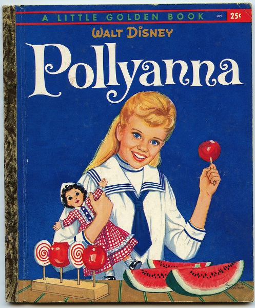 The Golden Book cover focuses on the tie between Pollyanna and her wished-for doll.