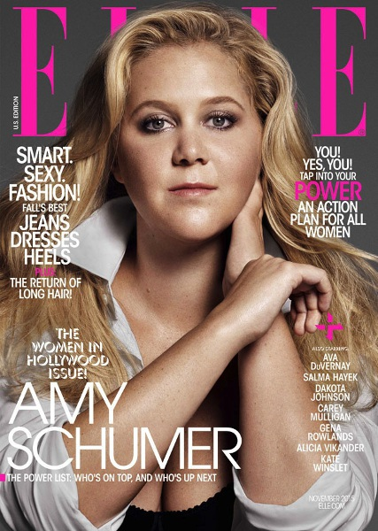 Amy Schumer gracing the cover of Elle magazine.