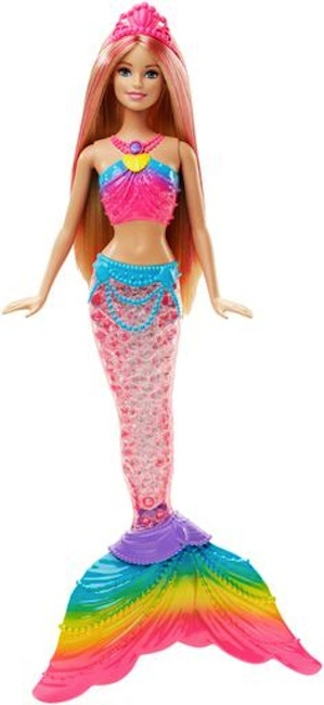 Barbie as the Rainbow Lights Mermaid doll.