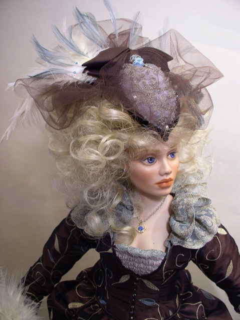 Close-up of Marie Antoinette doll's face