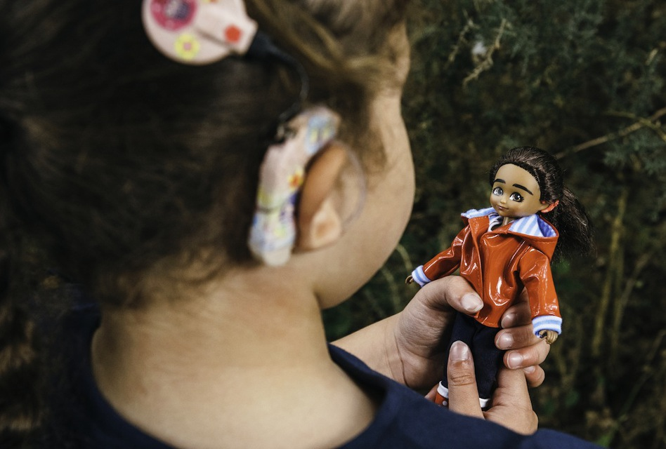 Mia, a new doll that features a cochlear implant device