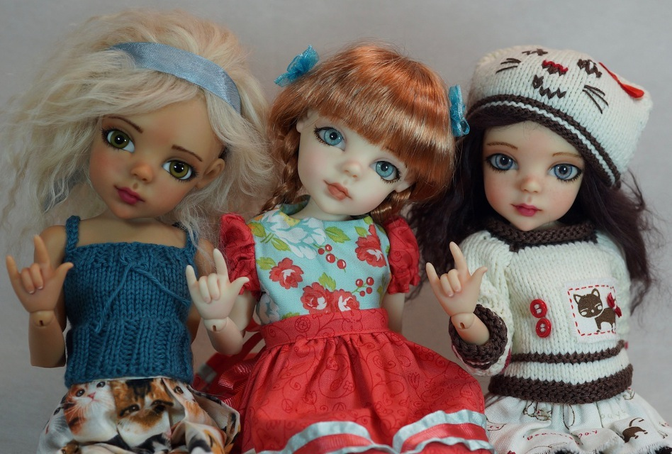 "Bo Bergemann's Alice dolls say ""I love you"" in American Sign Language (ASL)"
