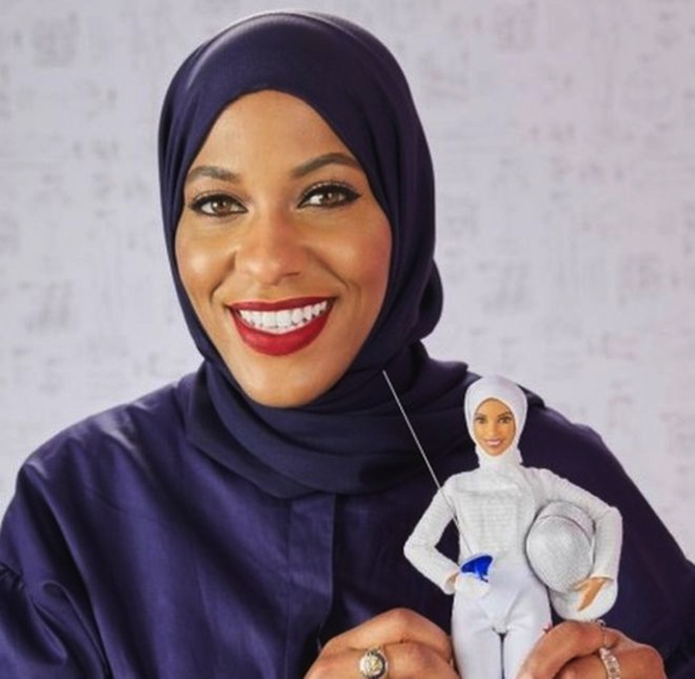 Ibtihaj Muhammad and her Barbie likeness.