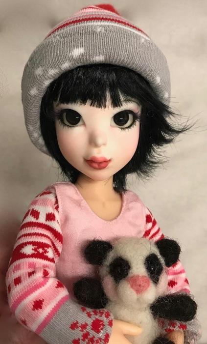 Valentine doll and panda