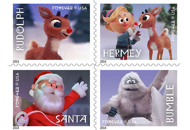 The U.S. Postal Service saluted the Rudolph movie in 2014. Who is missing?