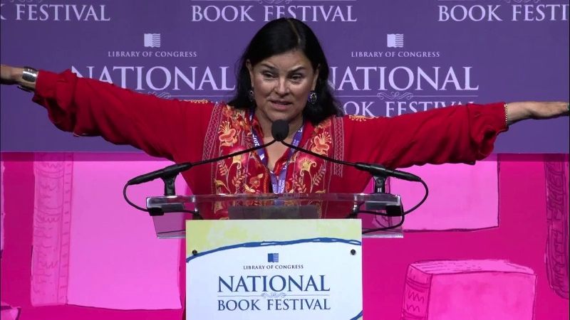 Author Diana Gabaldon in red. Courtesy of Library of Congress