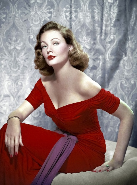 The ultimate thinking man's sex symbol, Gene Tierney radiant in red. Photo by Everett, Courtesy of Movie Star News