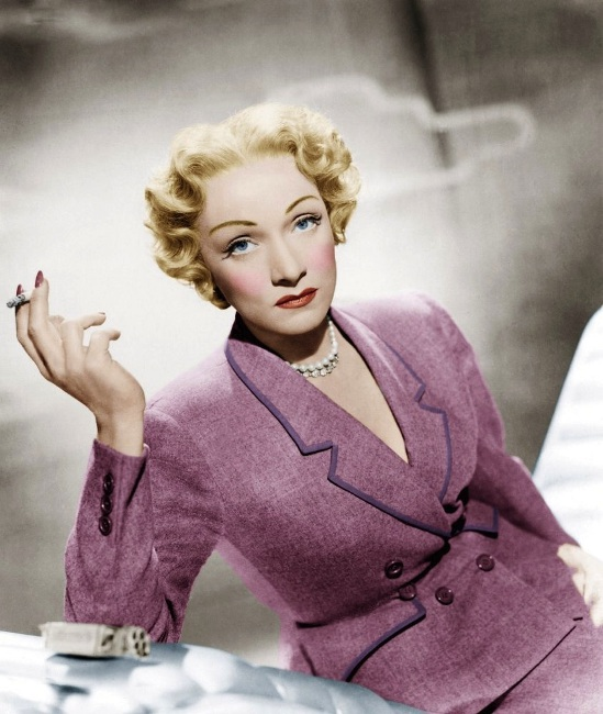 """Dietrich in a one-of-a-kind Dior-designed suit for """"Stage Fright"""""""