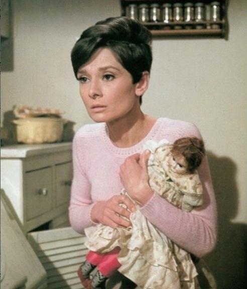 """Audrey Hepburn and doll in """"Wait Until Dark"""""""