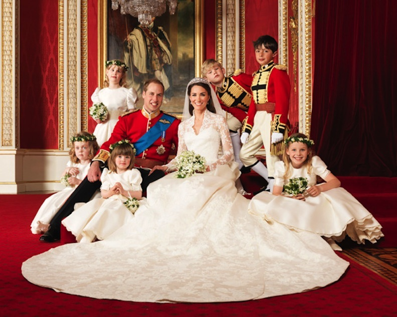 Prince William and Kate Middleton with flower girls