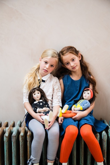 Two girls with A Girl for All Time dolls