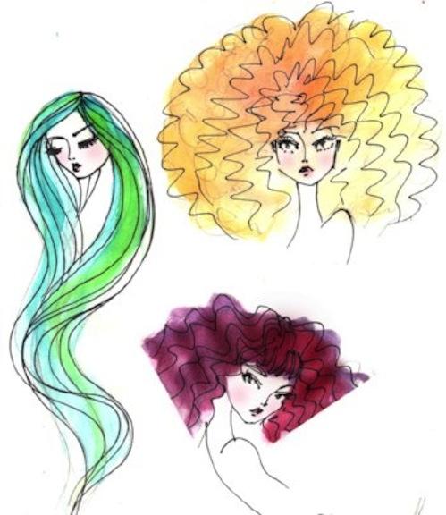 Sketch of Kadira's Editorial Wig Set
