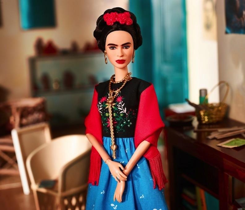 Close-up of Frida Kahlo Barbie doll