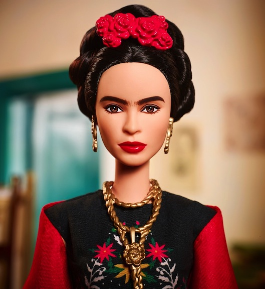 close-up look at the Frida Kahlo Barbie