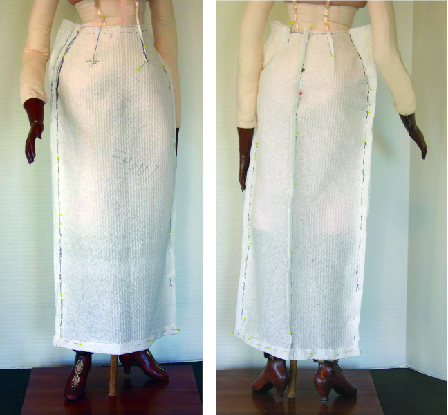 Paper towel skirt pattern, front and back views.