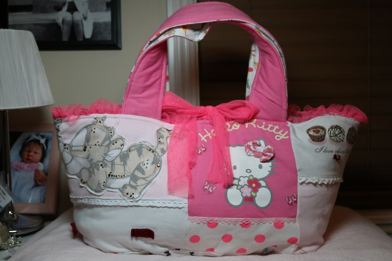 Upcycled Emily bassinet bag by Susan Gibbs