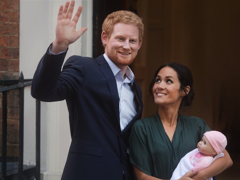 Meghan and Harry actors with baby doll