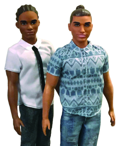 "Two recent Ken dolls really reflect the times: An African-American version with cornrows and Ken sporting a ""man bun."""