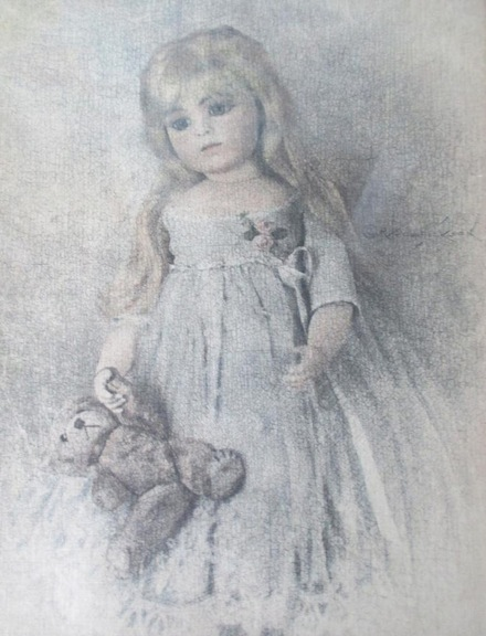 Brenda Mize is inspired by portraits of the past, such as this rendering of a young girl with her beloved bear.