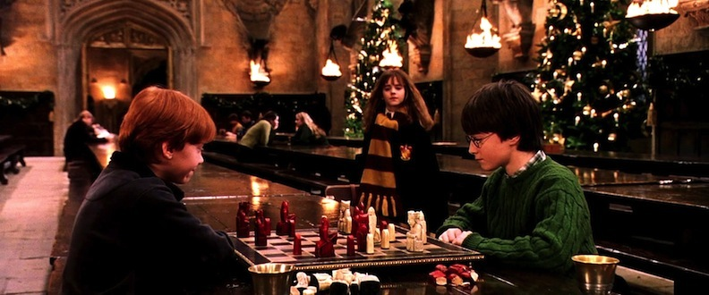 The trio that grew up in front of the world's eyes. Daniel Radcliffe as Harry Potter, Rupert Grint as Ron Weasley, and Emma Watson as Hermione Granger. Here, you can see Christmas once again surrounding the characters. Courtesy of Warner Bros. Pictures