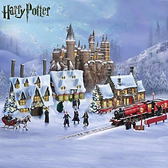 The Bradford Exchange proudly unveils the recognizable landmarks from Harry Potter's universe. The illuminated buildings and the well-made characters are fastidiously fashioned. Photo courtesy of Bradford Exchange