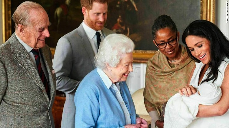 Royal baby Archie Harrison Mountbatten-Windsor is introduced to his maternal grandmother and paternal grandparents. Photo courtesy of the Duchess of Sussex Instagram account