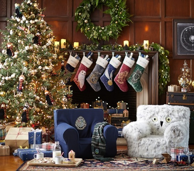 Pottery Barn's Harry Potter holiday collection includes stockings, ornaments, furniture, tabletop, and dining ware. They have so much to offer, they could rename themselves the Potter Barn! Photo courtesy of Pottery Barn