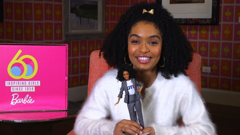 "Barbie's 60th anniversary popped up throughout 2019. The Mattel Shero line of dolls honored young women who have been inspired by the doll's limitless possibilities. Shown here, ""Grown-ish"" TV star (and future ""Little Mermaid"" Ariel) Yara Shahidi and her own doll likeness. Courtesy of ""Good Morning America"