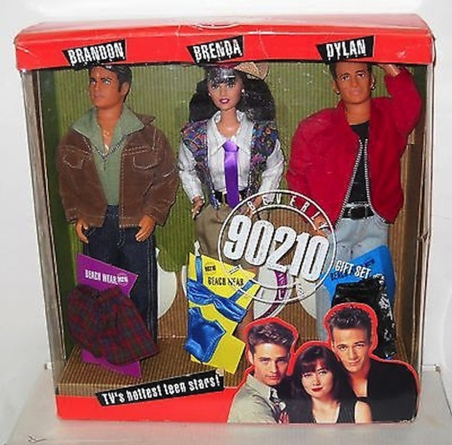 "Luke Perry played edgy and complex Dylan McKay, but his fans knew that a tortured soul lurked beneath his expensive threads. Mattel capitalized on the success of ""Beverly Hills 90210"" with these portrait dolls."