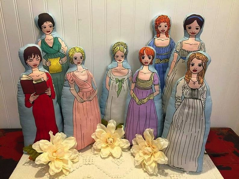 Marie Whelan of Pembertea offers sewing kits and instructions to create eight of Jane Austen's most beloved lovely heroines. These are available through her Etsy shop, along with many other Austen accessories and collectibles.