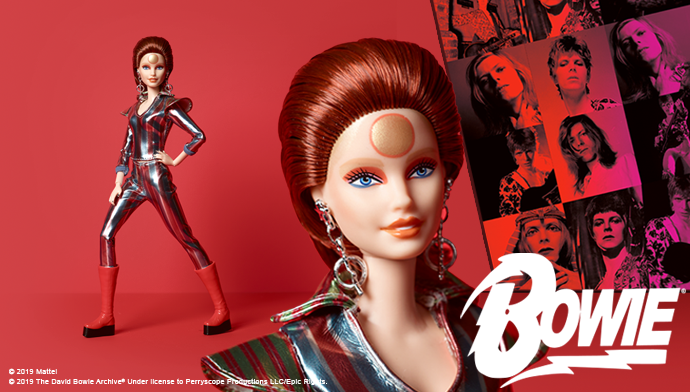 Mattel released a limited-edition Gold Label David Bowie Barbie doll in 2019. Barbie is garbed as Bowie's alter ego Ziggy Stardust in this licensed tribute to the iconic musician.