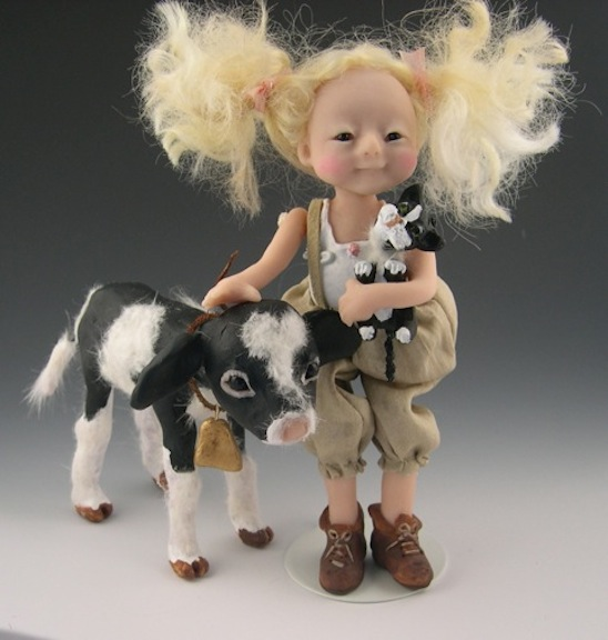 One of Elizabeth Cooper's wholesome and winsome 6-inch characters from the artist's Down on the Farm series.