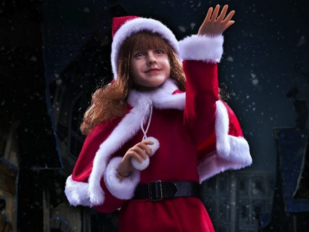 Hermione is stunning in her Mrs. Claus costume. Star Ace fashioned a doll that resembles actress Emma Watson and imbued the creation with her personality, too.