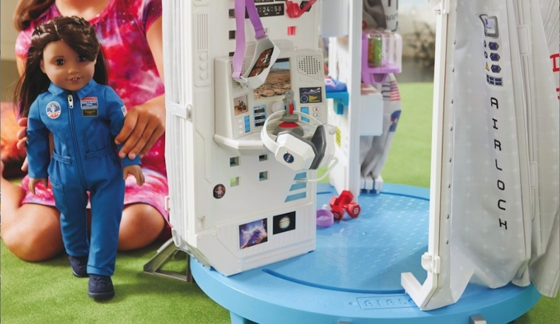 American Girl encourages young girls to aspire to be all they can be, including space explorers. Hands-on play could lead to hands-on experimentation in the chem lab or rocket-propulsion workshop.