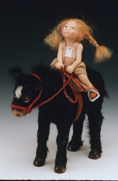 Girl on Pony, 8 inches