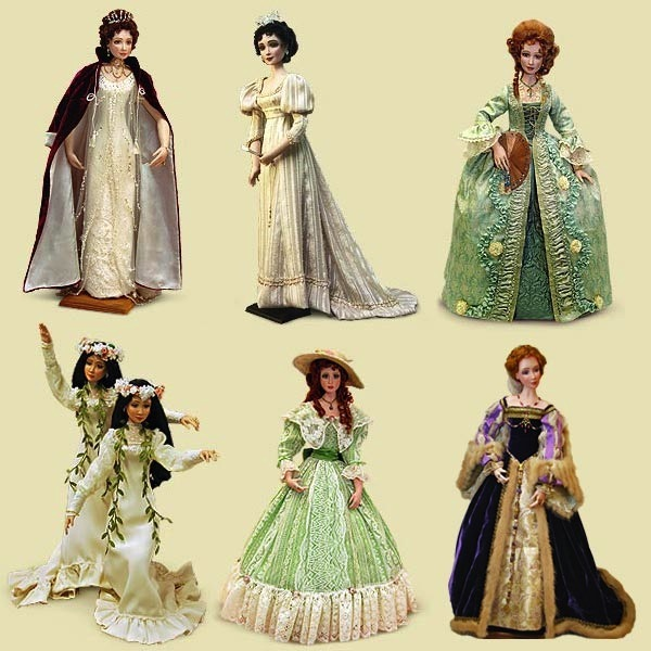 Ms. Mollie O dolls are the epitome of well-researched, designed, and crafted creations. Their costumes evoke elegance and passion from past eras.