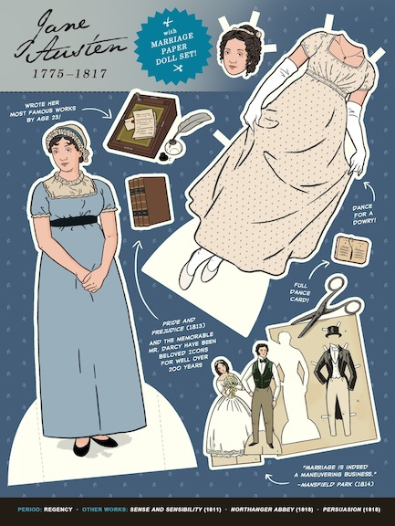 Illustrator Kyle Hilton showcased the marital complexities of an Austen epic with his paper doll.