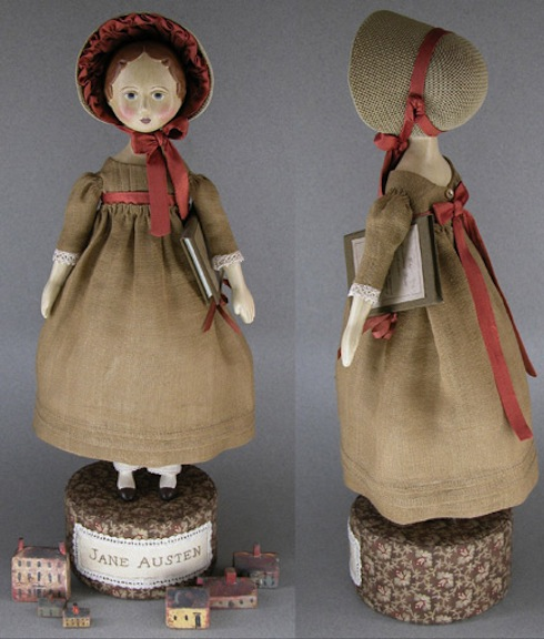 This Jane Austen–inspired doll is by Gail Wilson Designs. The 11-inch doll is clad in period dress and era-specific bonnet. The papier-mâché doll comes with the parts and supplies needed to create her. The set also includes kits that allow crafters to make her cloth-bound book and her cloth-covered stand. Book kit and stand kit can be bought separately.