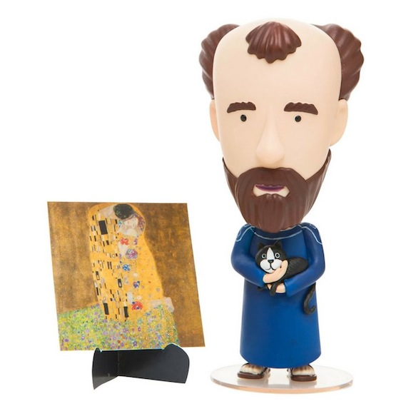 Today Is Art Day specializes in action figures that honor painters and other well-known artists. Its 5-inch tall PVC Gustav Klimt doll celebrates the Austrian artist's life and times.