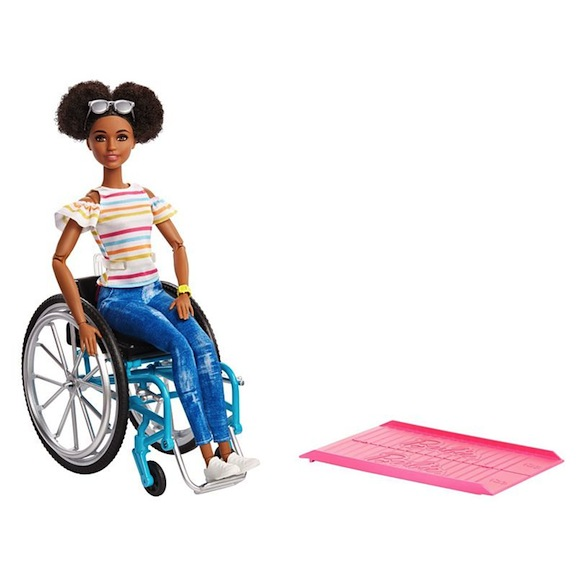 The Barbie doll with a meticulously rendered wheelchair and ramp is a bestseller in England. A black Barbie has now been introduced in the wheelchair.