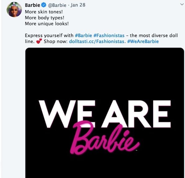 Mattel and Barbie tweeted out their Fashionistas mantra.