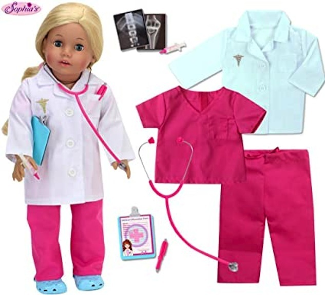 Sophia's collection of costumes and accessories for dressing an 18-inch doll as a doctor or other medical professional