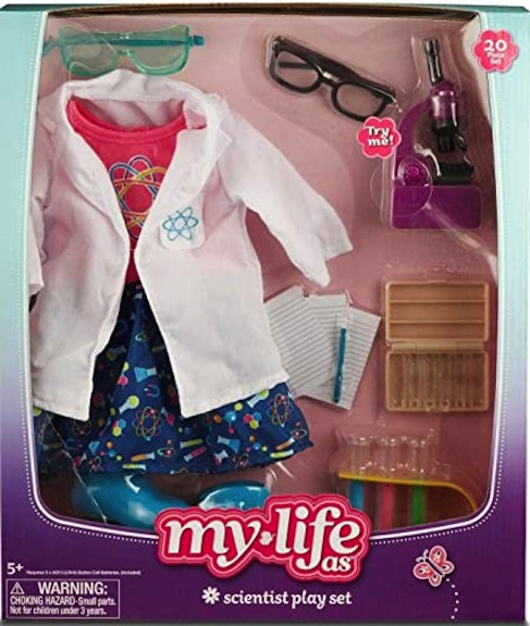 My Life As doll line offers this Scientist Play Set with costumes and accessories.