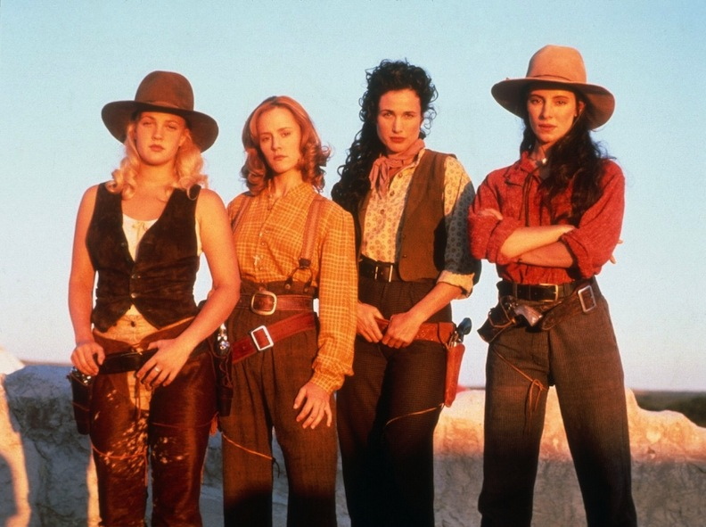 "Rootin', tootin' glamour! The cast of 1994's ""Bad Girls"" Western flick. From left to right, Drew Barrymore, Mary Stuart Masterson, Andie MacDowell, and Madeleine Stowe. Courtesy of Movie Star News"